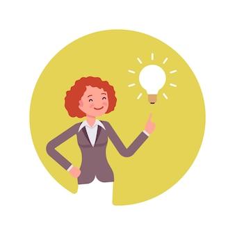 Mulher aponta para uma lâmpada