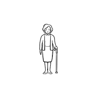 Mulher aposentada com ícone de desenho de contorno desenhado a mão de bengala
