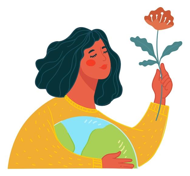 Mulher apreciando o florescimento de uma flor, ecologicamente correta