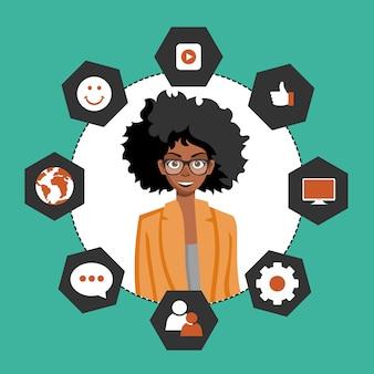 Mulher, apresentando, cliente, relacionamento, gerência
