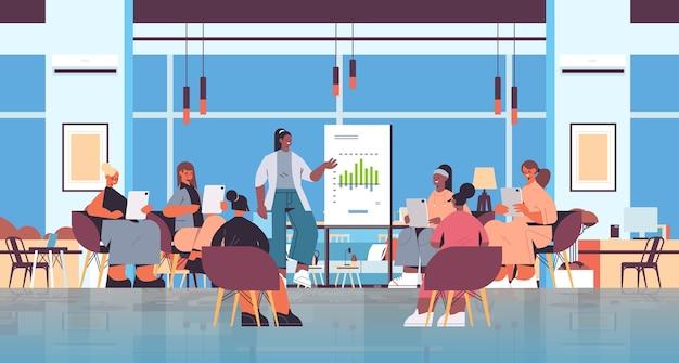 Mulher apresentando gráfico para misturar amigos do sexo feminino durante a reunião no clube feminino apoiando-se mutuamente no escritório moderno ilustração vetorial horizontal de corpo inteiro