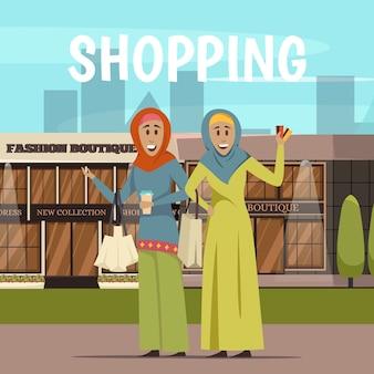 Mulher árabe e fundo de compras