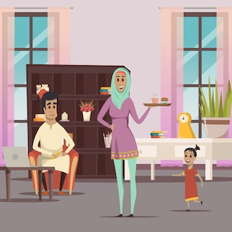 Mulher árabe e fundo de família