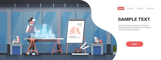 Mulher arquiteto engenheiro usando óculos digitais realidade virtual 3d edifício cidade modelo vr modelagem