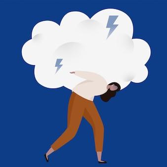Mulher arrastando uma pesada nuvem tempestuosa com relâmpagos. emoções ruins e ilustração do conceito de ansiedade.