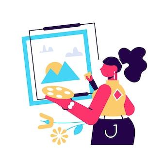 Mulher artista em pé no cavalete e pintando