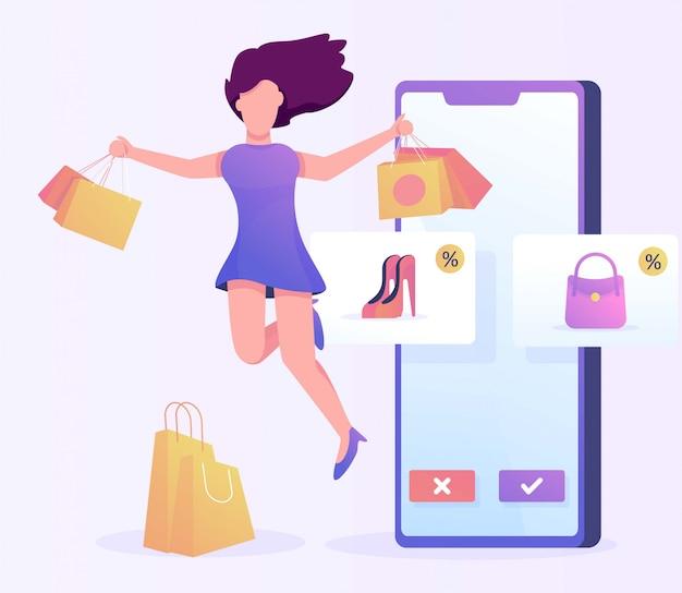 Mulher às compras na venda de loja de móveis