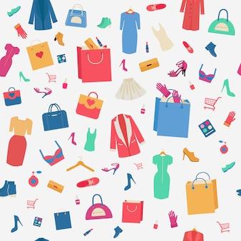 Mulher às compras sem costura padrão com roupas e cosméticos