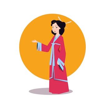 Mulher asiática no quimono japonês