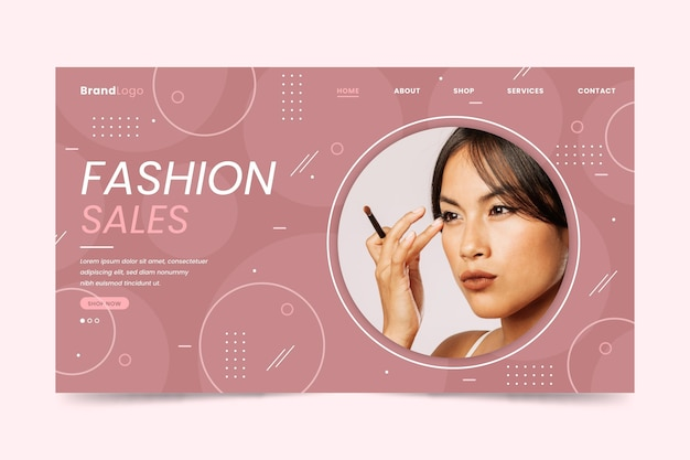 Mulher asiática, usando a página de destino de venda de moda maquiagem