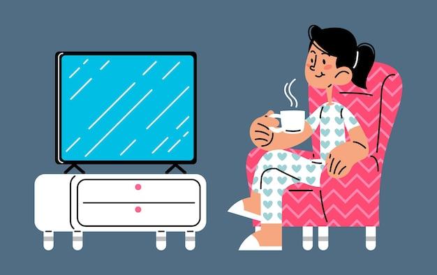 Mulher assistindo tv e desfrutando de uma caneca de café ilustração vetorial plana