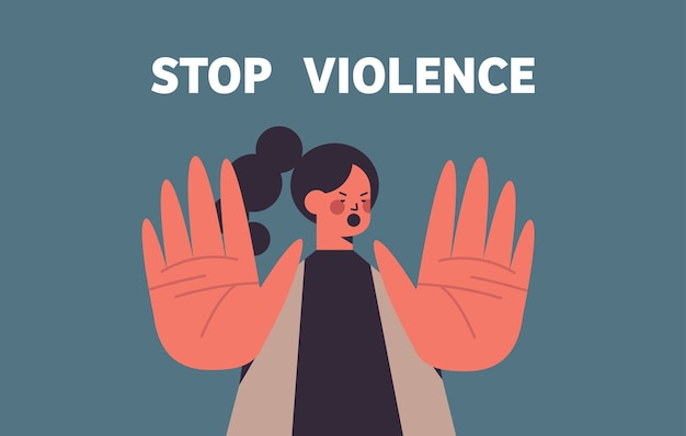 Mulher assustada e apavorada com hematomas no rosto parar violência e agressão conceito retrato ilustração vetorial horizontal