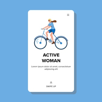 Mulher ativa andando de bicicleta, hora do esporte