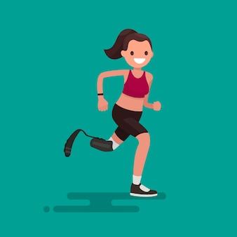 Mulher atleta paralímpica correndo na ilustração da prótese