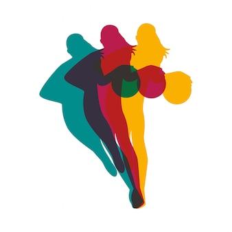 Mulher atlética praticando basquete esporte silhueta ilustração vetorial design