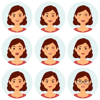 Mulher, avatars, facial, expressões