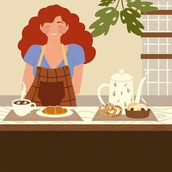 Mulher barista com avental e café quente com bule de chá no balcão da cafeteria