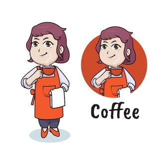 Mulher barista, design de logotipo do mascote do café Vetor Premium