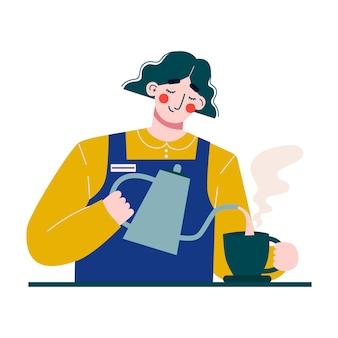 Mulher barista fazendo café ou chá. barista feminina.