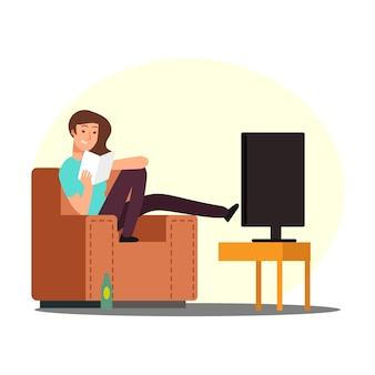 Mulher baseia-se na cadeira com garrafa de livro, tv e cerveja