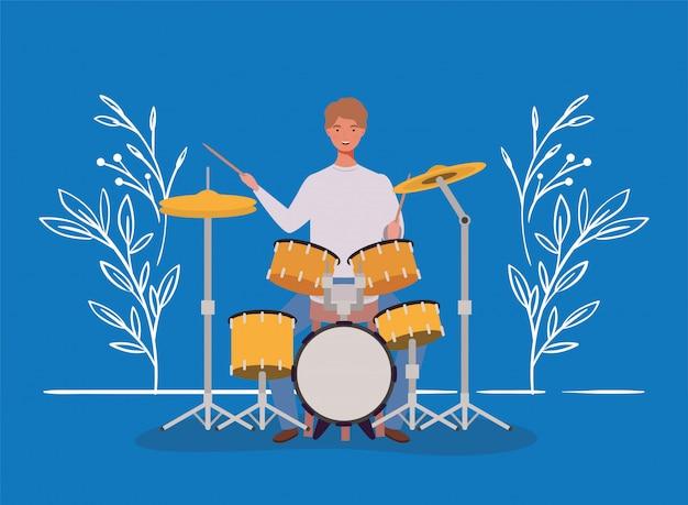 Mulher, bateria jogando, tambores, personagem