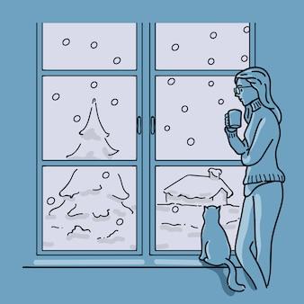 Mulher beber café ao lado da janela