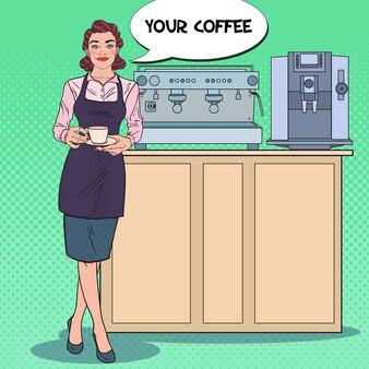 Mulher bonita barista com uma xícara de café