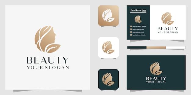 Mulher bonita cabeleireiro logotipo gradiente dourado e cartão de visita