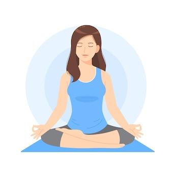Mulher bonita, caricatura, meditar