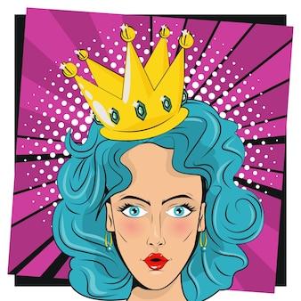 Mulher bonita com cabelo azul e estilo pop art da coroa da rainha.