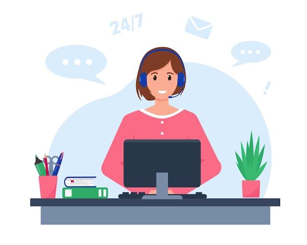 Mulher bonita com fones de ouvido, microfone e computador.