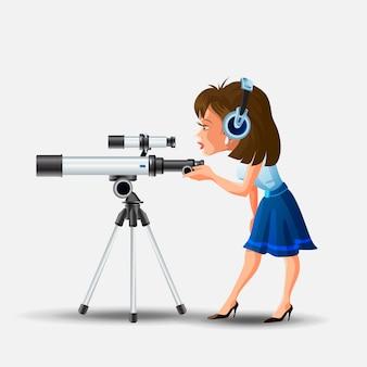 Mulher bonita com fones de ouvido, olhando para a ilustração do telescópio.