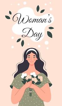 Mulher bonita com um buquê de flores. cartão postal para o dia da mulher. ilustração em estilo simples