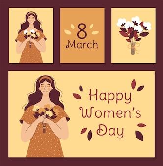 Mulher bonita com um buquê de flores. conjunto de cartões postais para o dia da mulher. ilustração