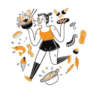 Mulher bonita correndo segurando comida, desenho de ilustração em estilo linear