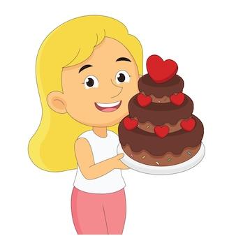 Mulher bonita cozinheira segurando um grande bolo de chocolate para o dia dos namorados