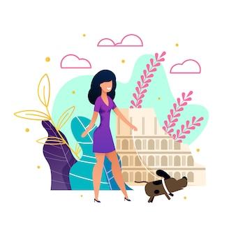 Mulher bonita dos desenhos animados em casual vestido andando cão
