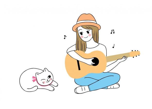 Mulher bonita dos desenhos animados, tocando violão e gato.