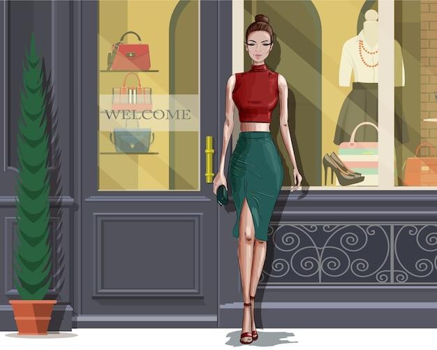 Mulher bonita e elegante com fundo de fachada boutique