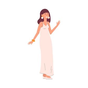 Mulher bonita e famosa em um vestido de noite, celebridade ou estrela de cinema posando para jornalistas
