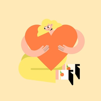 Mulher bonita e forte em um tênis de camiseta e shorts abraça um grande coração