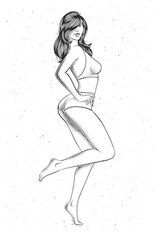 Mulher bonita em ilustração de lingerie