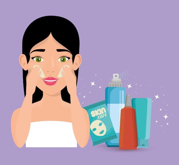 Mulher bonita em tratamento facial
