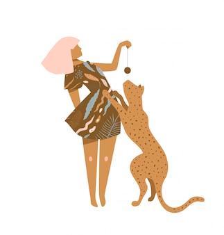 Mulher bonita em um vestido marrom brincando com design gráfico de impressão de silhueta de gato selvagem.
