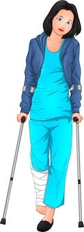 Mulher bonita esta doente e usando muletas