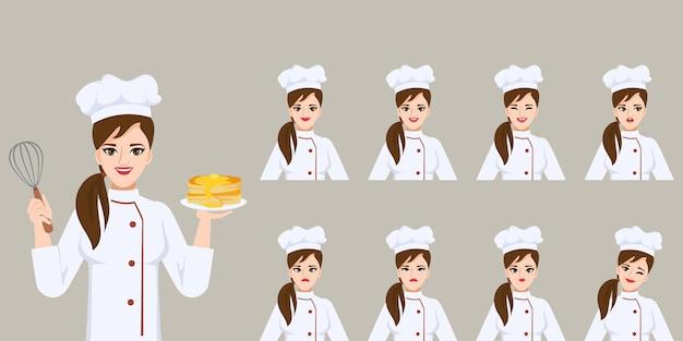 Mulher bonita feliz chef em emoções diferentes enfrenta personagem