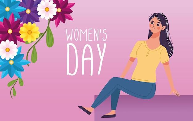 Mulher bonita feliz com jardim de flores e ilustração da rotulação do dia das mulheres