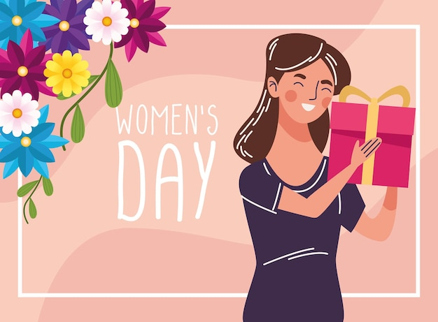 Mulher bonita feliz com o presente e a ilustração das letras do dia das mulheres