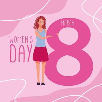 Mulher bonita feliz levantando número oito e ilustração da rotulação do dia das mulheres