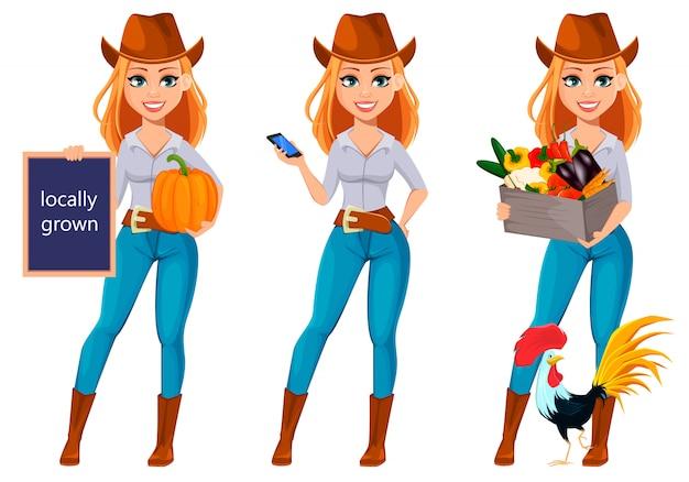 Mulher bonita jovem agricultor com chapéu de cowboy